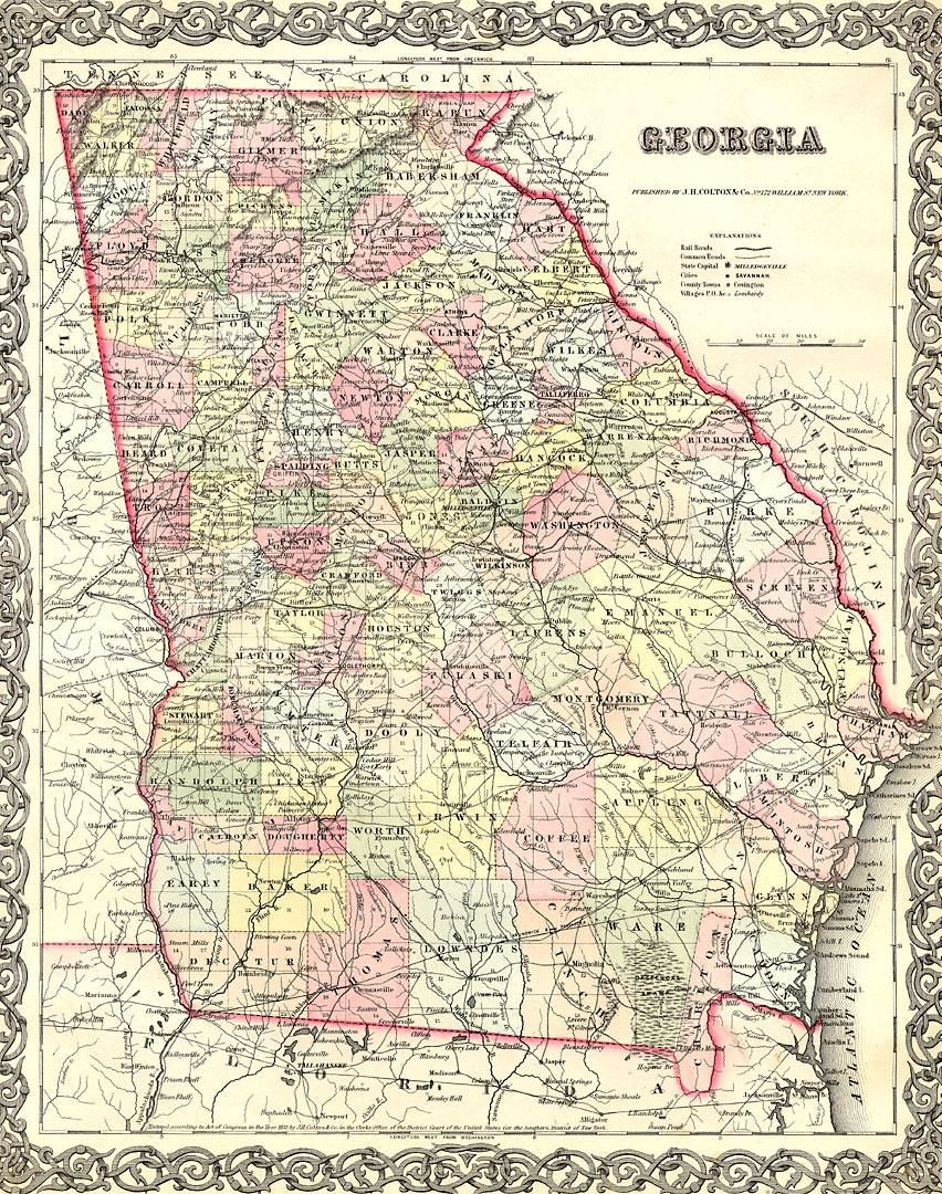 Map Of Georgia 1830.Murray County Museum Historical Locations